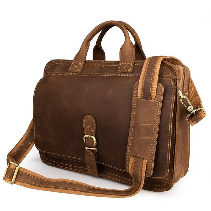Image of Men's Handmade Vintage Leather Briefcase / Messenger Bag / Laptop Bag (n16-2)