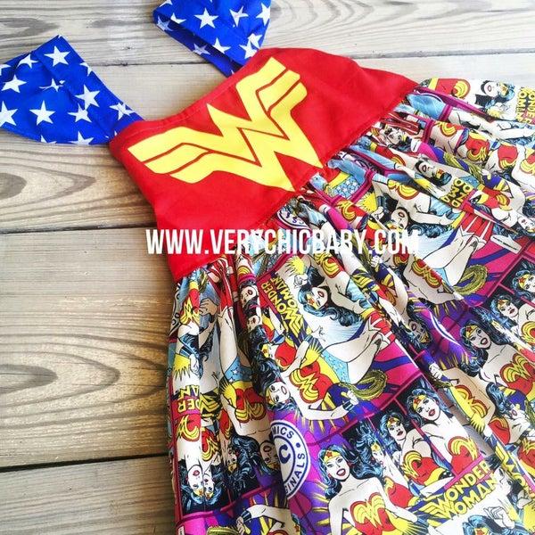 Image of Wonder Woman Print Inspired Dress
