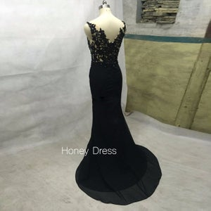 Image of 2015 Black Chiffon Mermaid Evening Gown With Lace Appliques Bodice