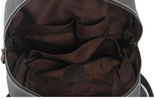 Image of Waxed Canvas Backpack/Rucksack, School Backpack, Hiking Travel Backpack 1022