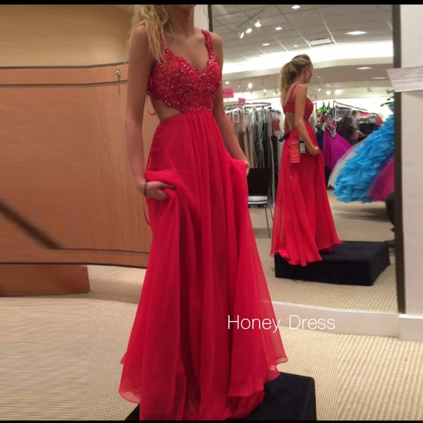 Image of Red V-Neck Lace Applique Prom Gown, Chiffon Cut Out Straps Prom Dress With Open Back