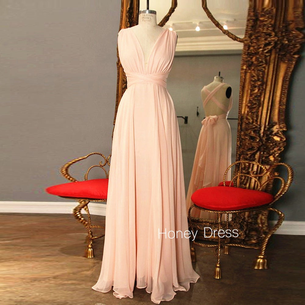 Image of Versatility Nude Jersey Cross V-Neck Prom Dress, Floor Length Sheath Casual Dress