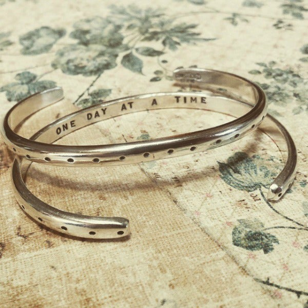 "Image of ""One Day at a Time"" Sterling Bracelet with Dot Pattern"