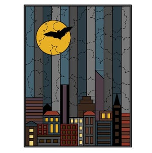 Image of Tiny Town Goes Halloween Wall Hanging Quilt Pattern