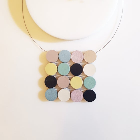 Image of Kihon Square Leather Necklace (multicolor)