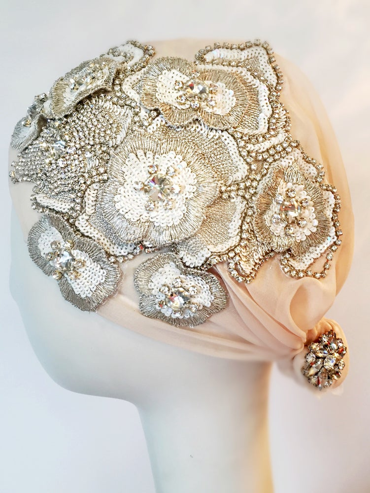 Image of Hazel Embellished Rhinestone Juliet Cap Headpiece