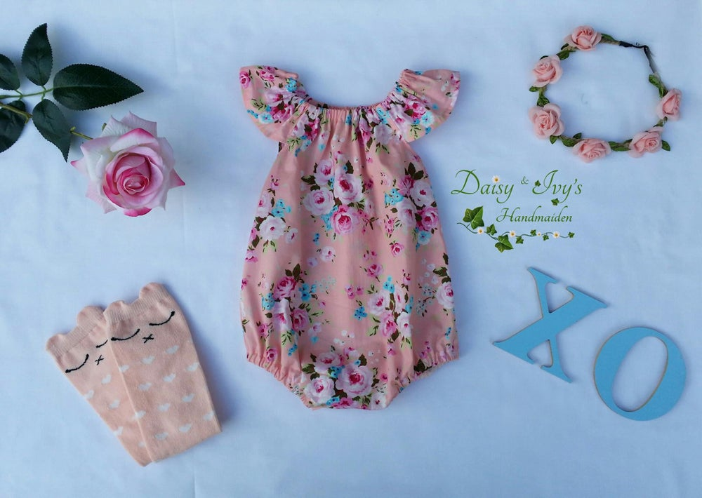 Image of Peach Floral Playsuit