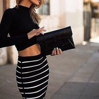 Image of HOT TWO PIECES STRIPED DRESS
