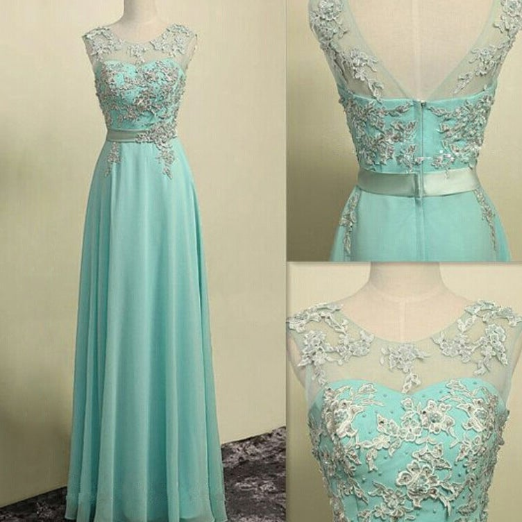 Image of Mint Green Chiffon Long Prom Dress With Lace Appliques