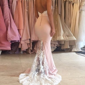 Image of Nude Jersey Spaghetti Strap Evening Dress,Lace Applique Evening Gown With Strapless Mermaid