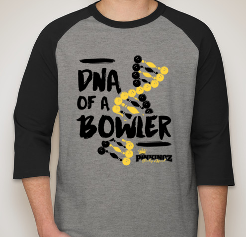 Image of Pinkingz Bowling T-Shirt - DNA of a Bowler 3/4 2 Tone || Dark Heather Grey w/ Black Sleeves