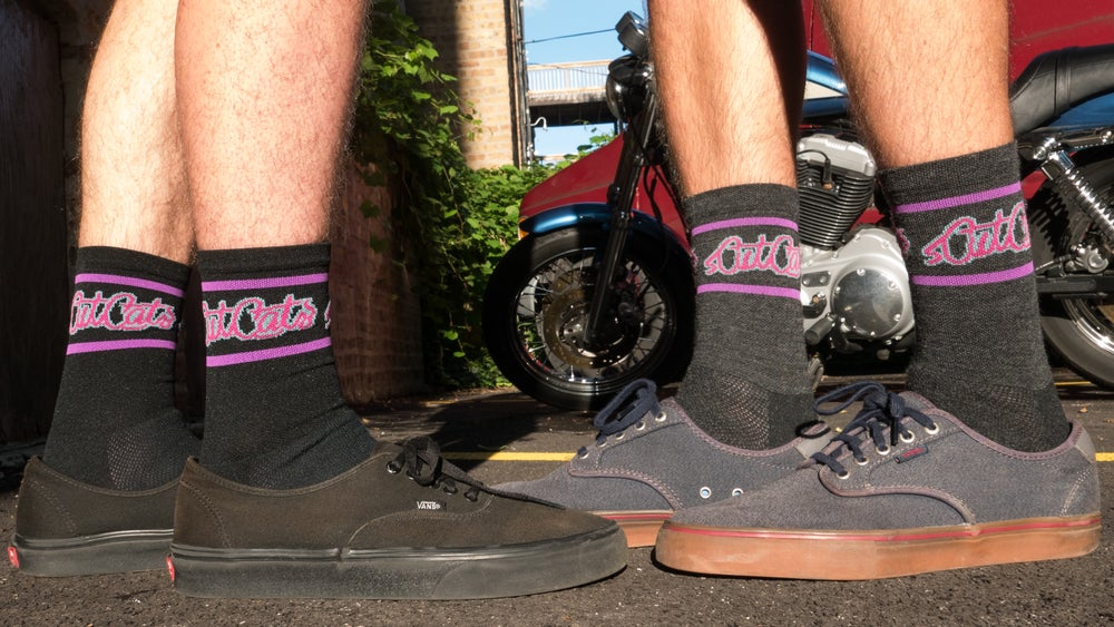 Image of DeFeet cycling socks (Pink/Wild Berry/Teal/Black)