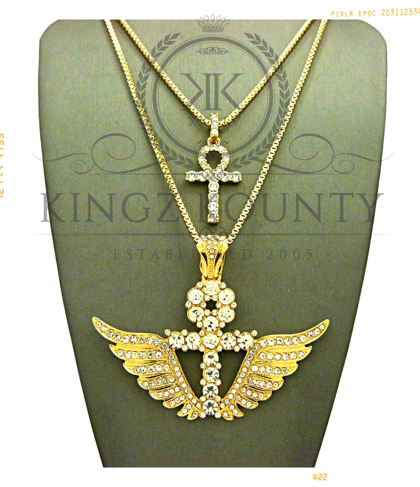 Image of ICED OUT GOLD AHNK w/ WINGS & MINI AHNK BOX CHAIN