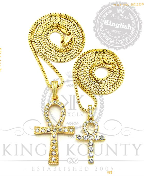 Image of ICED OUT DOUBLE AHNKS w/ BOX CHAINS