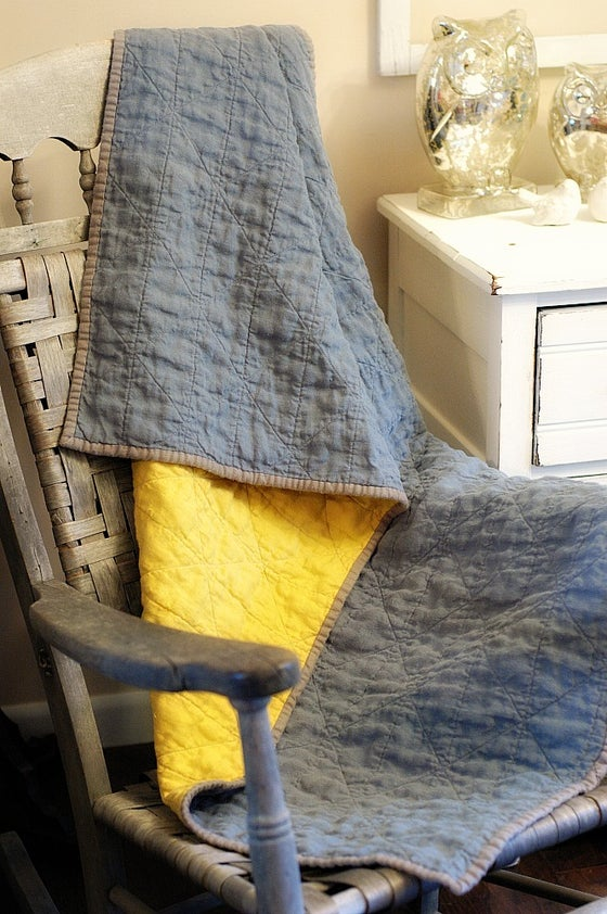 Image of Whole Cloth European Linen Baby Crib Quilt / Nursery Quilt / Lap Quilt