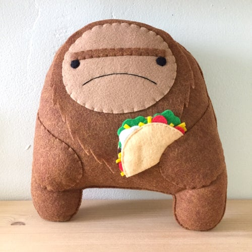 Image of XL sasquatch plush -- choose donut or taco