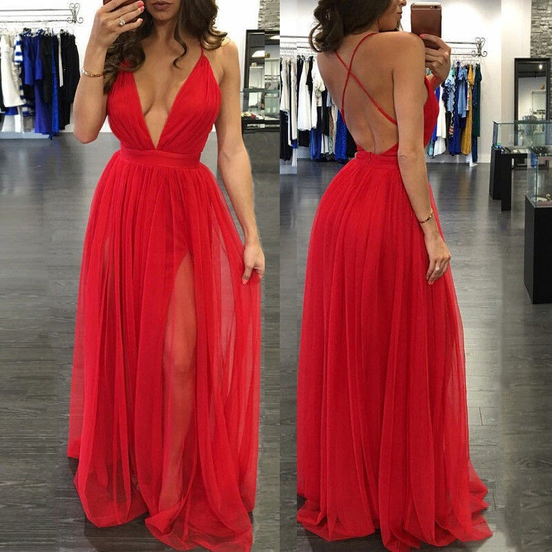 Red Spaghetti Strap Prom Dress