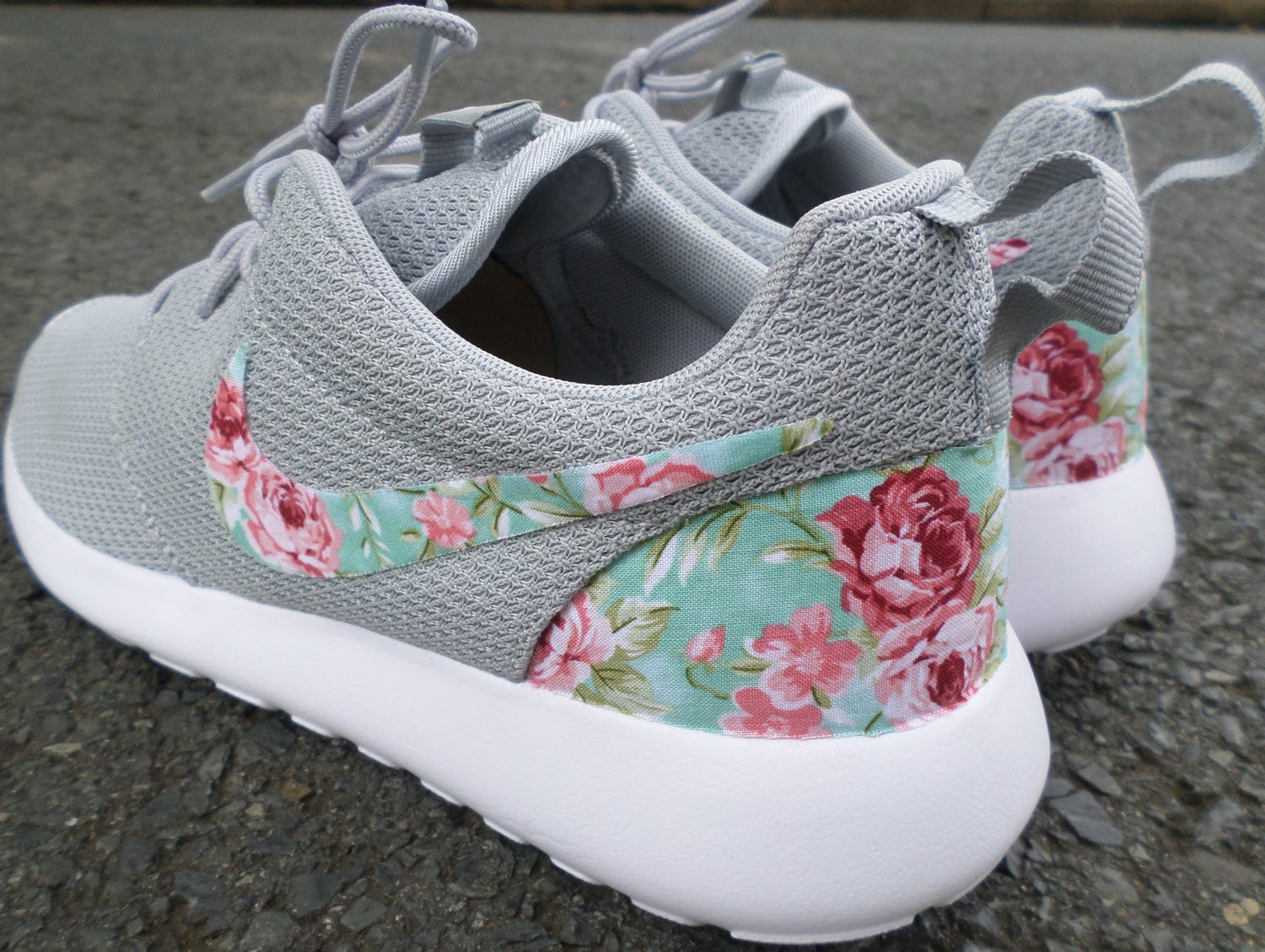 "Image of Custom Nike Roshe One ""Wolf Grey Floral Swoosh"""