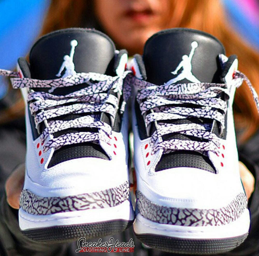 Image of Exclusive ELEPHANT PRINT/CEMENT LE Custom Shoe laces (White)