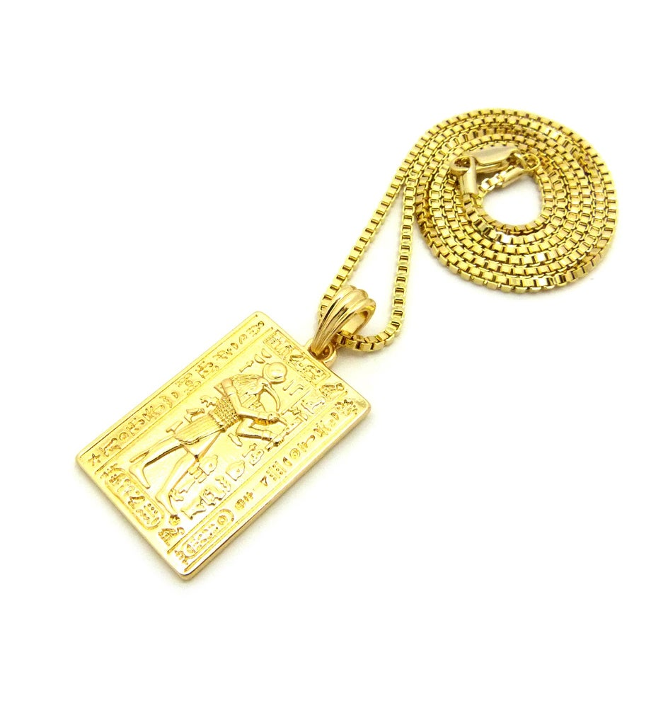 Image of TEHUTI - GOD OF WISDOM GOLD PLATE W/ BOX CHAIN