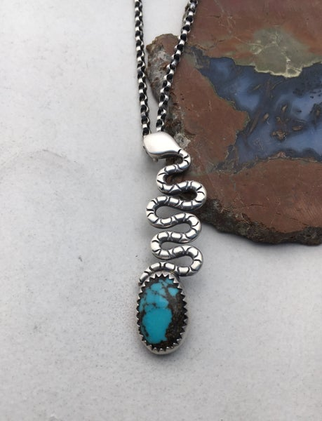 Image of The Cosmic Egg Sterling Silver and Nacozari Turquoise