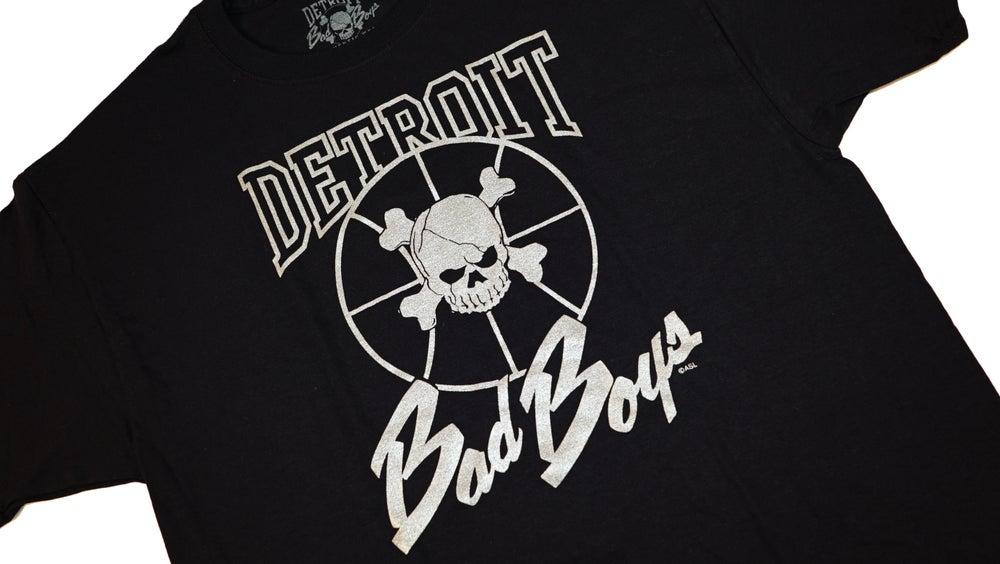 Image of Vintage Retro Detroit Pistons Bad Boys Silver Foil Shirts