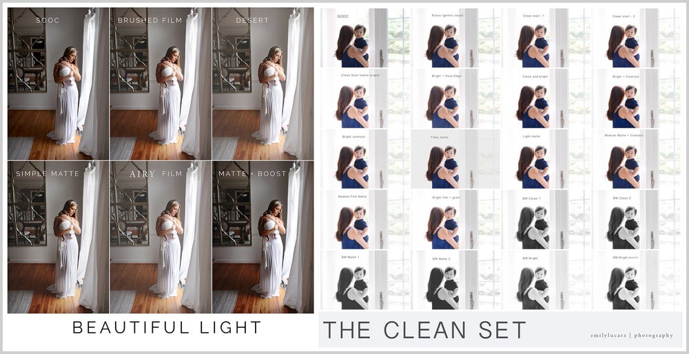 Image of The Clean set and Beautiful Light combo (Photoshop)