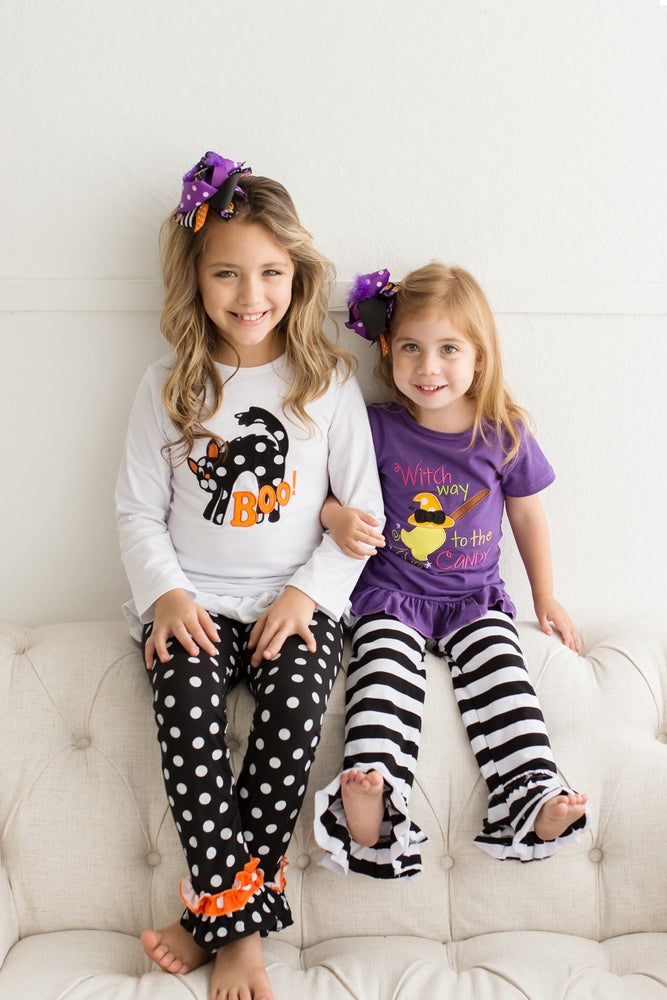 Image of Halloween BOO Cat Long Sleeve Shirt and Pants Set, Baby Toddler Girl, Fall, Photos, Sister Sets