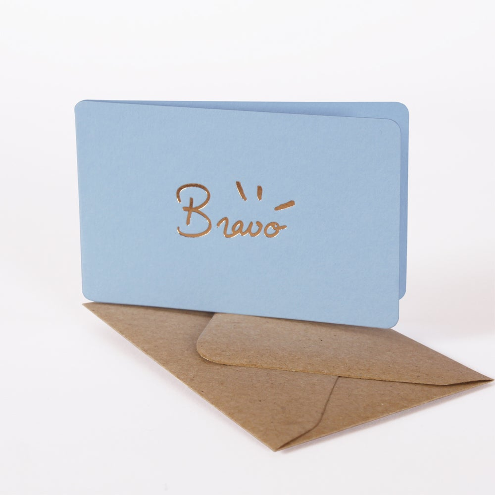 Image of MINI-CARTE BRAVO bleu pastel