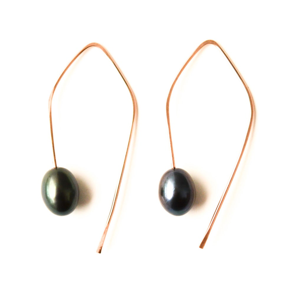 Image of Angular cultured freshwater peacock pearl earrings 14kt rose gold-filled
