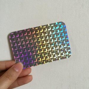 Image of Black On Hologram---Custom Eggshell Stickers