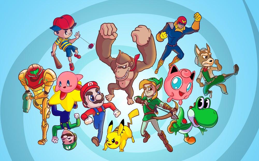 "Image of Smash Bros 64 Poster Print 11""x17"""