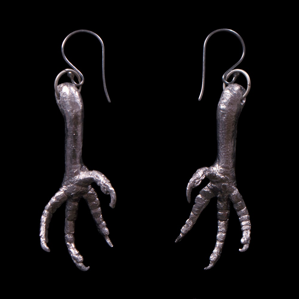 Image of Pewter Dove Leg Earrings