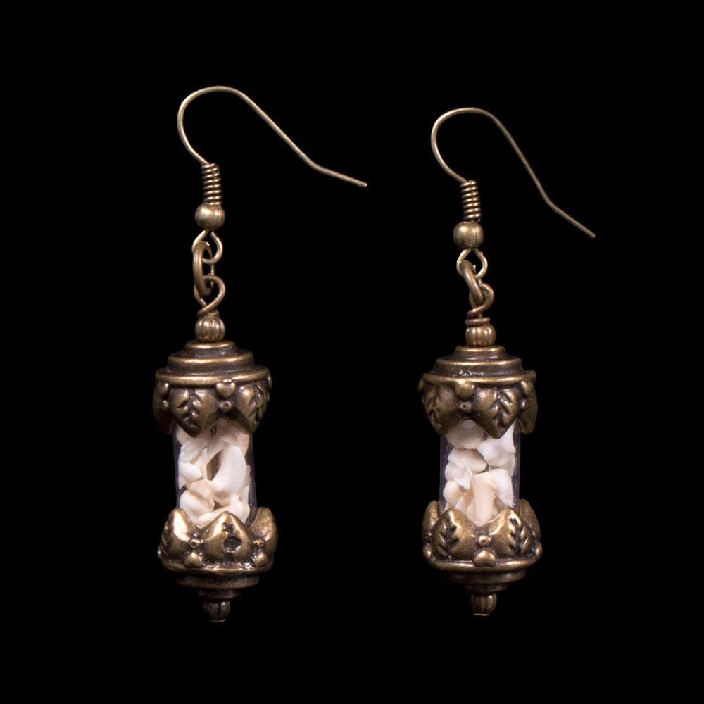 Image of Small Glass Bone Vial Earrings