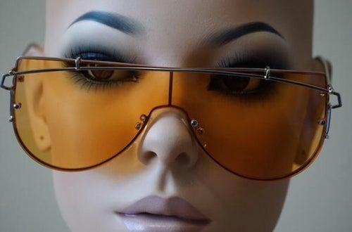 Image of Solid Retro Aviator Sunglasses