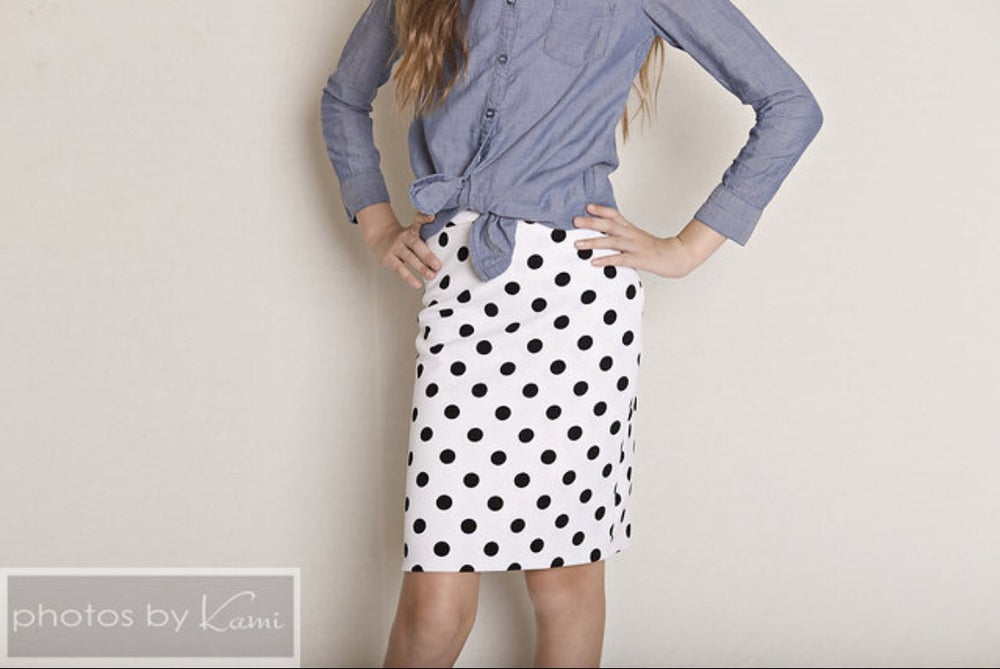 Image of Baby/Girls White with Black Polka Dots Pencil Skirt