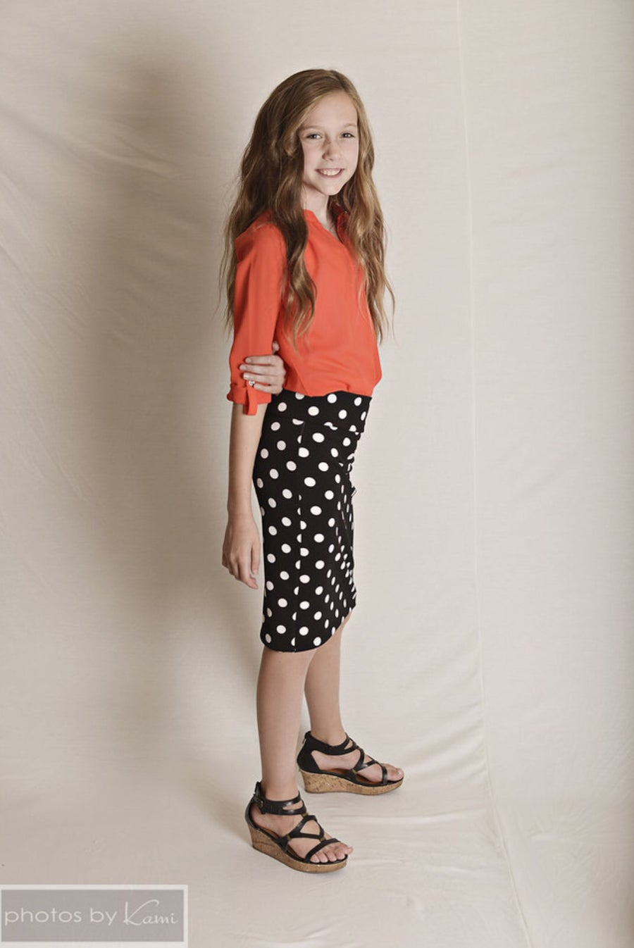 Image of Baby/Girls Black with White Polka Dots Pencil Skirt
