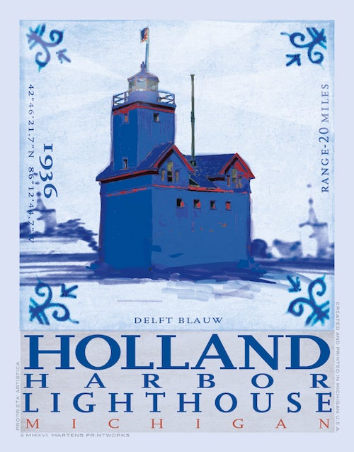 Image of Holland Harbor Lighthouse in Delft Blue Limited Edition 11x14 Print No. [066]