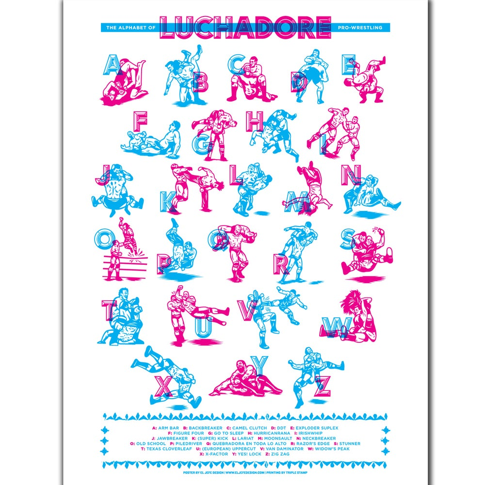 """Image of Luchadore """"Alphabet of Moves"""" Poster by Rockets Are Red"""