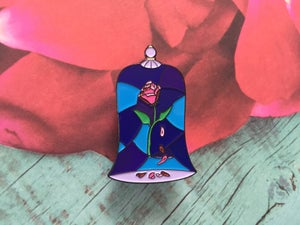 Image of Beauty & the Beast Stained Glass Rose Pin v.1
