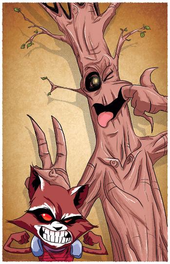 Image of Watterson's Rocket & Groot 11x17 print