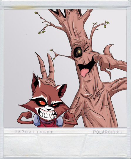Image of Waterson's Rocket & Groot Polariod sticker