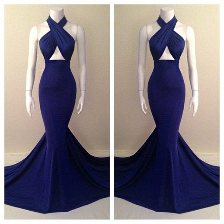 Mermaid Cocktail Dress: Navy Blue Halter Mermaid Prom Dress With Cut