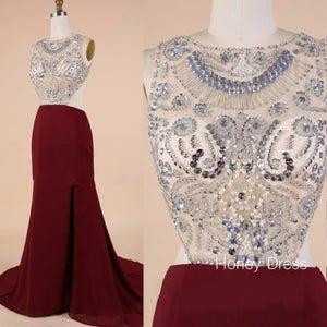 Image of 2015 Wine Chiffon Sheer Beaded Bodice Evening Dress With Open Back