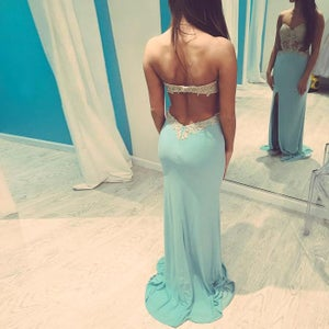 Image of Fashion Ice Blue Cut Out Waist Prom Gown With Slit Skirt