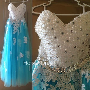 Image of Turquoise Tulle Sweetheart A Line Prom Dress With Lace Appliques