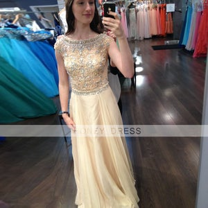Image of Nude Chiffon Beaded Crystal Prom Party Dress With Boat Neck