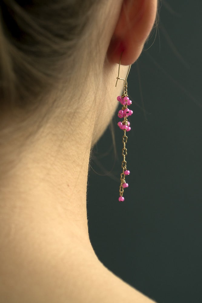 Image of Boucle d'Oreille Perle Grappe / Chaine OR