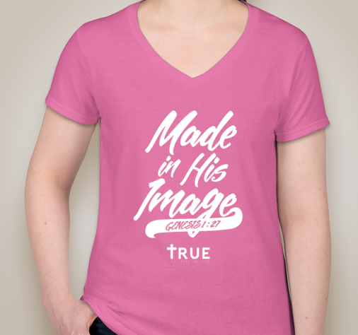 Image of True to The Word || Made in HIS Image Woman V-Neck | Pink