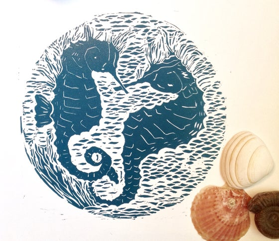 Image of Horse Play, pair of sea horses, handmade original Linocut